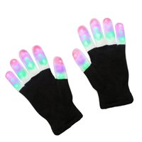 abanico japonés azul al por mayor-2017 Guantes de destello de LED Five Fingers Light Ghost Dance Black Bar Stage Performance colorido Rave Light Finger Guantes de iluminación Resplandor de destellos 10