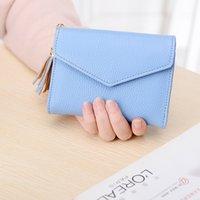 Wholesale Korean Style Casual Large Handbags - Simple Women Short wallet,Thirty Percent Handbag, Multi-functional, Large Screens,Fresh Pure Color PU Lady Purse Cartoon Fashion Wallets