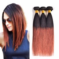 New Arrive Brazilian Two Two Tone 1b 33 Dark Brown Straight Hair Mel Loiro Ombre Straight Virgin Hair Brown Blonde Hair Weave