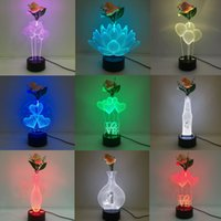 Wholesale Led Flower Battery Lights - Mixed Designs 3D Illusion Lamp with Decoration Flower 7 RGB Colorful Lights USB Powered with AA Battery Bin Touch Button Wholesale