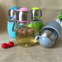 Wholesale Penguin Mug - Creative 400ML Glass Water Bottle With Tea Infuser Gift Bag Penguin Shape Students Cup Sports Bootle Travel Bottles Mug 10pcs