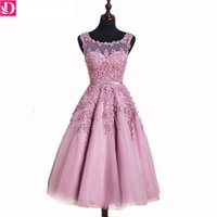 photos médiatiques achat en gros de-Real Photos Robes de bal en stock A-ligne sans manches en dentelle Applique perlée en soie Banquet Party Gown Medium Length Vestido De Festa 8662