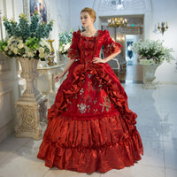 Wholesale Century Length - New Arrival Red Rococo Baroque Marie Antoinette Ball Gown Dress 18th Century Renaissance Historical Period Dress For Women
