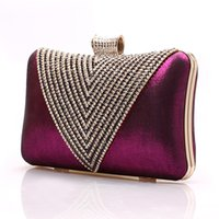 Wholesale blue satin evening bag - Luxury Crystal Diamond Evening Bag Bling Clutch Bag Banquet Bags Ladies Crossbody Wedding Hand Bag Purple Gifts A119