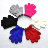 Wholesale knitted gloves wholesale - children winter warm mittens five gloves girl boy kids multicolor pure knitted finger glove free shipping