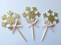Wholesale bamboo birthday cake - Wholesale- Gold Glitter Snowflake Cupcake Toppers with Pink Bow. Winter Wonderland Party. Cupcake Decor. Birthday wedding party cake topper