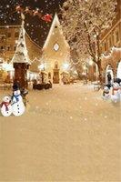 açık hava noel fotoğrafı arka plan toptan satış-Açık Düşen Kar Taneleri Kardan Adam Backdrop Fotoğraf Noel Baba Elks için Mutlu Noeller Kış Tatil Çocuklar Fotoğraf Stüdyosu Arka Plan