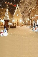 toile de fond pour les enfants achat en gros de-Chute de neige en plein air Snowflakes Backdrop pour la photographie Père Noël Elks Joyeux Noël vacances d'hiver Kids Photo Studio fond