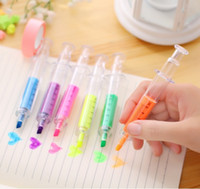 Wholesale desk writing - Kawaii Syringe Marker Pens Students Learning Gifts School & Office Supplies Korean Desk Accessories Stationery