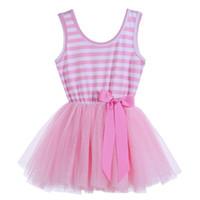 Wholesale Red Stripe Dress Rose - Girls stripe vest dresses 2017 new children bows tulle tutu dress kids princess clothing girl dress pink purple rose red blue red A00003