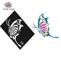 Wholesale Cute Cat Tattoos - Wholesale-10 Pieces Air Brush Glitter Tattoo Stencil Cat Angel Heart Flower Butterfly Cute Templates,Woman Female Airbrush Tattoo Stencils