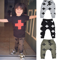 Wholesale flower harem for sale - New Autumn Winter Baby Girls Boys Knitted Trousers Kids Cross Printed Pants Children s Casual Harem Trousers top quality