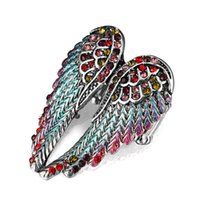 Wholesale Gold 18k Rings Wings - Angel wings Fashion Flower Shiny Red Romantic wedding Ring Red Garnet Women Charming Engagement Jewelry Black Gold Fillede Rings