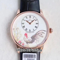 Wholesale Cock Case - Super Clone New Jaquet Droz J005013216 Petite Heure Minute Rose Gold Case Cock Dial Black Leather Strap A23J Automatic Mens Watch Watches