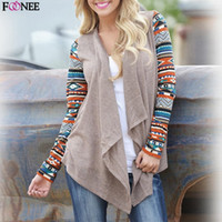 Fashion-Frühling Herbst Frauen Boho Baumwolle Print Patchwork Unregelmäßige Strickjacke Langarm Strickjacke Casual Loose Mantel Tops Outwear