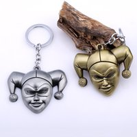 Wholesale Clown Car - Moive Suicide Squad Funny Clown Keychains Metal Keyring Rhodium Plated KeyChain Car Key Chains Keyrings Mens Boys Gift