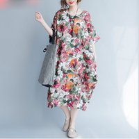 Wholesale Vintage Sunflower Dress - Plus Size Women Summer Dress Sunflower Floral Print Trend Linen Large Size Female Casual Fashion Long Vintage Dresses