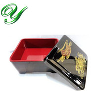 ingrosso nero bento-Sushi bento box lunch box zuppa ciotola set di stoviglie sushi anguilla riso piatto da portata piatto stile Giappone plastica 15cm nero contenitore durevole in oro
