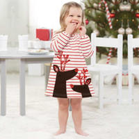 Wholesale Wholesale Cotton Frock For Kids - children autumn frocks designs 2017 Christmas kids baby girl winter red striped dress Santa Claus Print Dresses For 1-7 years old