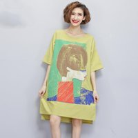 Wholesale Plus Size Tee Shirt Dress - Big Size Women T-Shirt Summer Linen Character Print Short Sleeve Long Tshirt Dresses Tee Fashion Plus Size Female Tops Clothing
