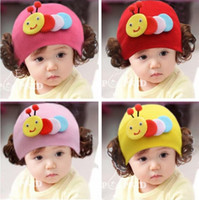 Wholesale Baby Girl Hats Wig - Baby Gilrs Cute Little Sheep Wigs Beanies Hats Children Kids Spring Autumn Knitted Cap Skullcap Free Shipping
