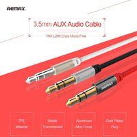 REMAX RM-L200 Gold Premium 3.5mm Aux Audio Cable 2M maschio a maschio per Apple Android Tablet Smartphone Altoparlante MP3 iPod iPad