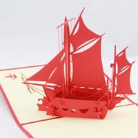 yumuşatma kartı toptan satış-Toptan-Düz yelkenli tebrik kartı / 3D kirigami kart / el yapımı tebrik kartları hediye erkekler için Ücretsiz kargo