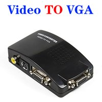 vga ntsc adapter großhandel-VGA zu AV-RCA-Konverter-Adapter-Schalter-Kasten für PC Laptop Fernsehapparat Monitor s-video Signal stützt NTSC PAL System DHL geben OM-CG8 frei
