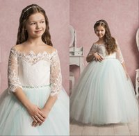 Wholesale Lace Kids Bridesmaid Dresses - 2017 Lovely Flower Girls Dresses For Weddings Off Shoulder Short Sleeves Tulle Floor Length Ball Gown Junior Bridesmaid Dresses For Kids
