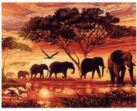 цифровой пейзаж с краской оптовых-Слоны пейзаж DIY цифровой живописи по номерам современный настенный живопись холст уникальный подарок для домашнего декора 40x50cm