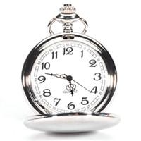 Wholesale Vintage Silver Pocket Watch Chain - Wholesale-Excellent Quality Vintage Antique 4.5cm Size Silver Polish Quartz men Pocket Watch Stainless Steel Quartz Watch with Chain