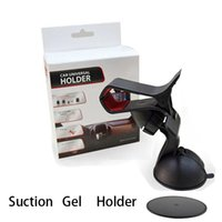 Wholesale clip car mount holder suction resale online - Suction Gel Universal Rotation Windshield Phone Holder for Cell Phones Retail Pack For iPhone s Double Clip Car Mount
