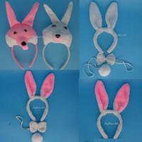 Wholesale 3d Kit Decorations - Fun 3D White Rabbit Bunny Party Animal Headband Ears Set Bow Tail Fancy Dress Birthday Halloween Carnival Supplies Decor
