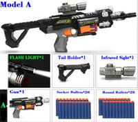 Wholesale Wholesale Light Gun - Newest Soft Gun Model Toy Guns with Soft Bullets with Infrared Sight and flash light Can be assembled hot selling wholesale