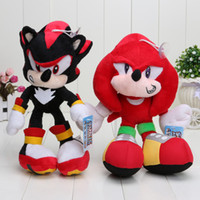 Wholesale Doll Hedgehog - Wholesale-25cm Black Shadow the Hedgehog Plush Toys Sonic The Hedgehog Plush Doll Soft Stuffed Plush Toy Free Shipping