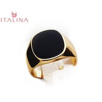 Wholesale Men Real Gold Rings - Real Brand Italina Rings For Men Hot Rose Gold Plated Men's Fashion Wedding Ring Black New Arrival Vintage Jewelry For Male