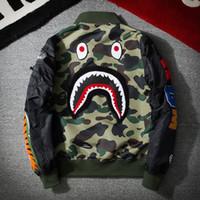 Wholesale Printed Hoodie Tiger - 2017 mens Tiger head Shark apes jackets sportswear Fashion Windbreaker marks Zipper hoodies Coats Outwear men's north jacket tags black