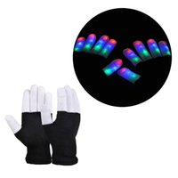 Wholesale Light Up Gloves Fingers - Hot LED Gloves Rave Light Led Finger Light Gloves Light Up Glove Halloween Party Favor Music Concert Color Changing Gloves
