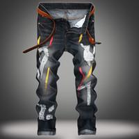 Wholesale Men Paint Jeans - Men's Distressed Ripped Biker Paint Jeans Denim For Men Brand Designer Hip Hop Slim Straight Jeans