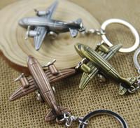 Wholesale Plane Keyrings - Mini Aircraft Airplane Plane Keychain Zinc Alloy 3D Aircraft Airplane Aeroplane Metal Keyfob Keyring Cute Christmas Gift 3 Color C14L