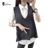 Wholesale Knitted Sweater Vest Korean - Wholesale-2016 Autumn New Korean Loose V-neck Women Sleeveless Solid Sweater Vest Knitted Sweater Jacket Female Waistcoat