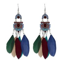 Indian Design Colorful Feather Long boucles d'oreilles chandelier