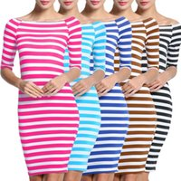 Wholesale Bodycon Dresses Prints - Sex Women Fashion New 4 Colors Bodycon Elastic Dress Women Stripes Half Sleeve Knee Length Casual Off the Shoulder Pencil Dresses LYQ57 RF