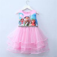Wholesale 5t Girls Halloween Costumes - 2017 Summer Dresses for Girls Moana Tutu Princess Girls Dress Children Party Cosplay Chiffon Kids Clothes Cartoon Child Costume
