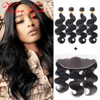 Wholesale Cheap Indian Hair For Sale - 4 Bundles Body Wave Hair With Frontal Natural Black Brazilian Wet And Wavy Hair Bundles Cheap Hair Weaves Extensions For Wholesale Sale