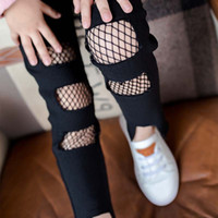 Wholesale Cheap Girls Black Leggings - Fashion black Girls pencil pants cool hole kids Skinny Pants Children Trouser Skinny Trousers Cheap Long leggings Girls Clothes cheap A1142