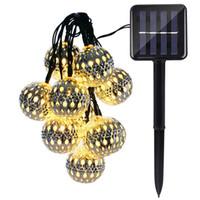ingrosso lanterne solari esterne luci di stringa-Commercio all'ingrosso- Holigoo Solar Globe 10 LED stringa esterna luci marocchino palla lanterna fata lampada solare per la decorazione della casa giardino di Natale