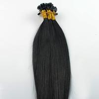 ingrosso estensioni dei capelli umani-Capelli vergini brasiliani Estensione dei capelli dritti e dritti # 1 Jet Black 100g 100s punta di cheratina punta umana