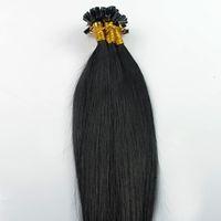 виргинская палочка оптовых-Бразильские девственные волосы прямо U наконечник наращивание волос # 1 струйный черный 100 г 100S кератин палку кончик человеческих волос