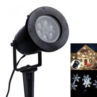 Wholesale Snowflake Christmas Tree Lights - Wholesale-Outdoor Waterproof Garden Lamp Tree Moving Snow Laser Projector Snowflake LED Stage Light Christmas Lights